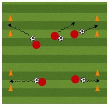 4 Goal Soccer Dribbling Drill