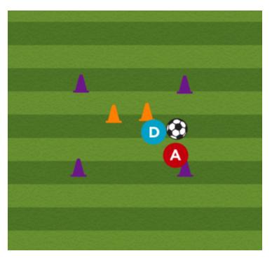 1 V 1 soccer defensive drill