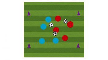 three ball possession soccer passing drill